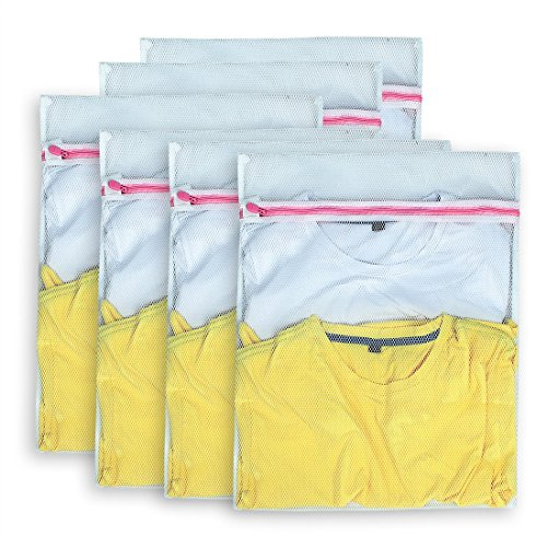 AimtoHome Set of 6 Mesh Laundry Bags - 6 Medium - Premium Quality: Laundry Bag for Blouse, Hosiery, Underwear, Bra and Baby Clothing, Travel Laundry Bag