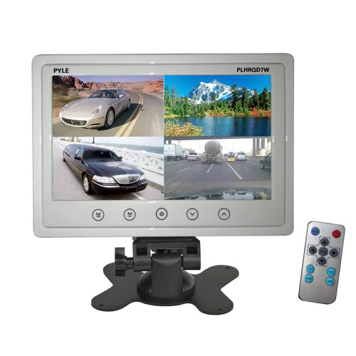 7' Lcd Quad - Pyle PLHRQD7W 7-Inch Quad TFT/LCD Video Monitor with Headrest Shroud,BNC and RCA Connectors - White