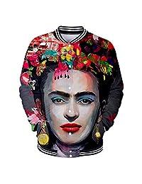 Gfsoediden Frida Kahlo - Chamarra de Mujer con Estampado de béisbol