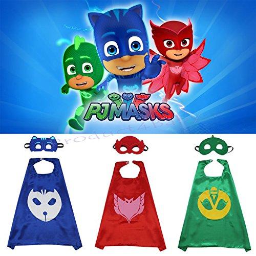 Enfants Cape Et Masque Garçon Fille Costumée Set - Pyjama Costume Masks_owlette (cape + Masque)