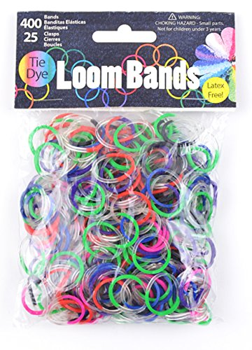 Band Assortment (Midwest Design Imports Loom Bands, Multi Tie Dye Assortment, 400 Bands and 25)