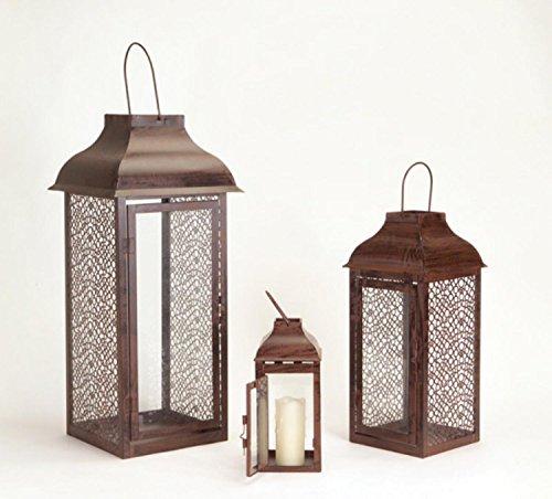 (Set of 3 Brown Modern Style Mesh Pillar Candle Holder Lanterns 21