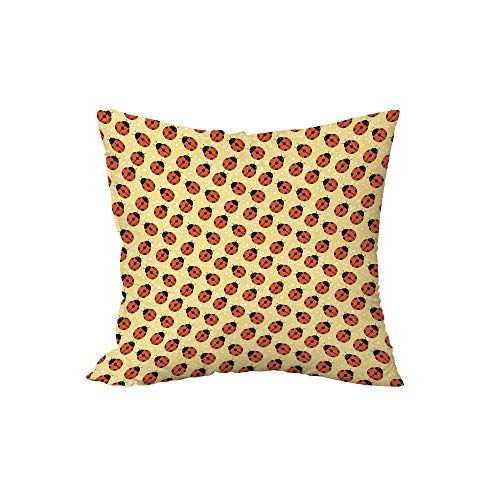 iPrint Polyester Throw Pillow Cushion,Ladybugs,Cute Bugs Children Cartoon Style Stars Polka Dots Nature Inspirations Decorative,Mustard Vermilion Black,15.7x15.7Inches,for Sofa Bedroom Car Decorate -