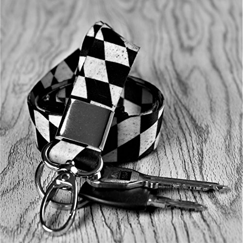 Weird Wolf Lanyard with Keychain Ring and Breakaway (Distressed Chequered Flag)
