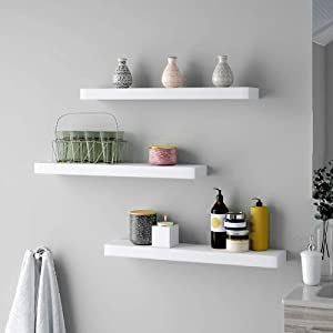 Pack of 3 White Floating Shelves,Wooden Shelves Unit for Wall,Home Decor Shelf,Display Rack Home Storage Organizer,Wall Mountable Shelf with Invisible Brackets