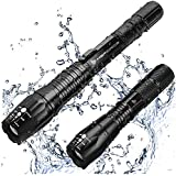 MsForce Brightest & Best LED Tactical Flashlights with Water Resistant: 1080 Lumen Bright Flashlight & 650 Lumen Flashlight,3 Rechargeable 18650 Battery. Perfect for Indoor & Outdoor, Camping Hunting