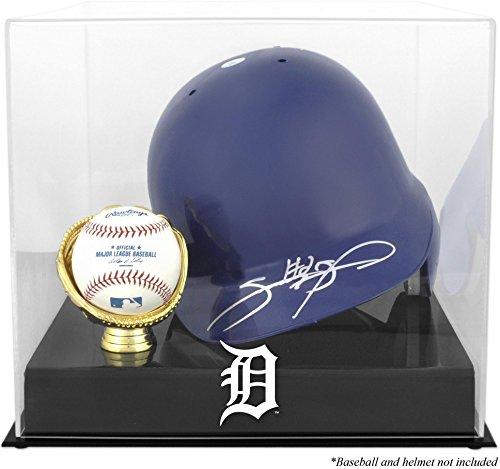 Baseball Batting Helmet Display Case (Detroit Tigers Batting Helmet with Ball Holder Logo Display Case)