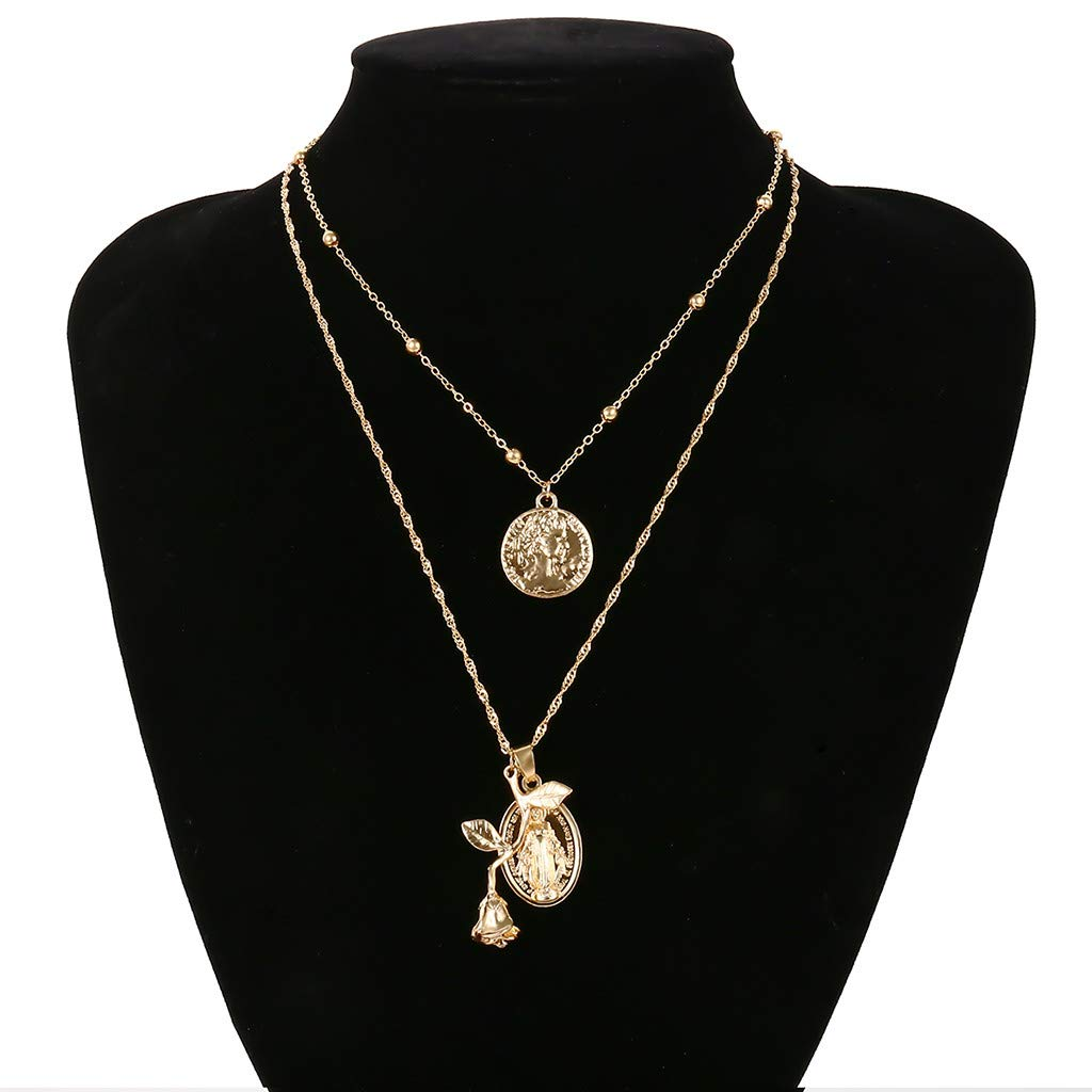 FRCOLT Fashion Women's Golden Leaf Trendy Jewelry Choker Multi Layer Necklace Gift (Gold, alloy)