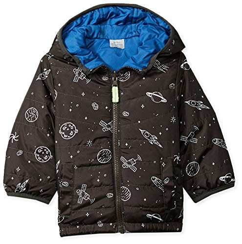 (Osh Kosh Baby Boys Reversible Midweight Jacket, Space Print/Wedgewood Blue, 18M)