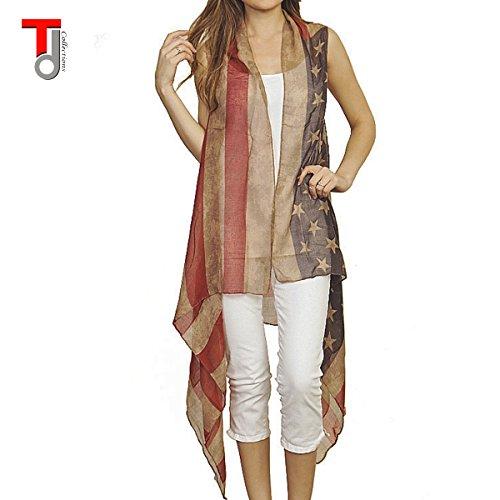 Womens Faded American Sleeveless Cardigan product image