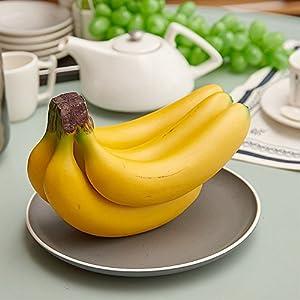XIDUOBAO Decoration Artificial Lifelike Simulation Bananas Realistic Fake Fruit House Kitchen Party Decoration Yellow Bananas X 1 Bunch 5PCS 1