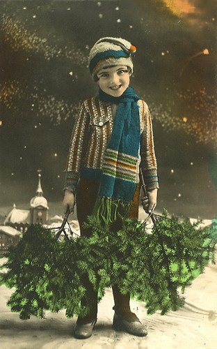 c1900 French Christmas Real Photo~Sweet Boy with Pine Boughs~Hand Tinted~6 pack NEW Matte Vintage Picture Large Blank Note Cards with Envelopes (Boughs Christmas Pine)