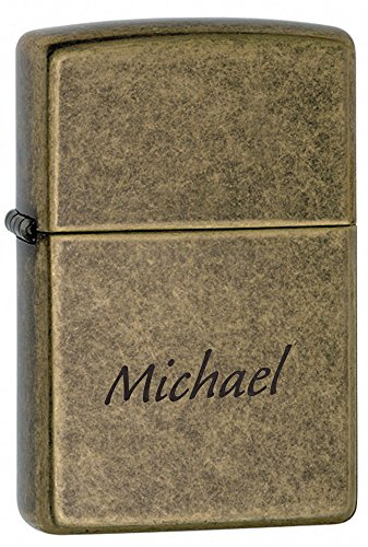 Personalized Zippo Antique Brass Lighter with Free Engraving (Zippo Brass Antique)