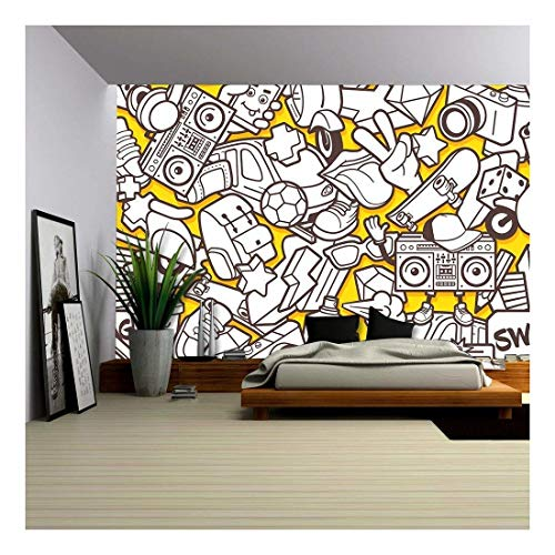 wall26 - Vector - Graffiti Seamless Pattern with Urban Lifestyle Line Icons - Removable Wall Mural | Self-Adhesive Large Wallpaper - 66x96 ()