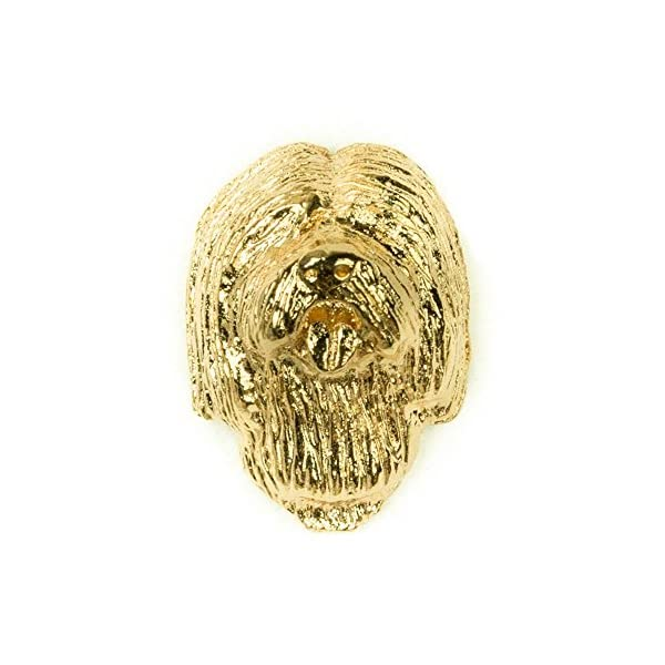 TIBETAN TERRIER Made in U.K Artistic Style Dog Clutch Lapel Pin Collection 22ct Gold Plated 1