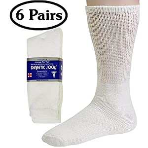 Debra Weitzner Men's 6-pack Diabetic Crew Socks,White,10-13