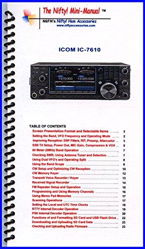 Icom Manual Radio (Icom IC-7610 Mini-Manual by Nifty Accessories)