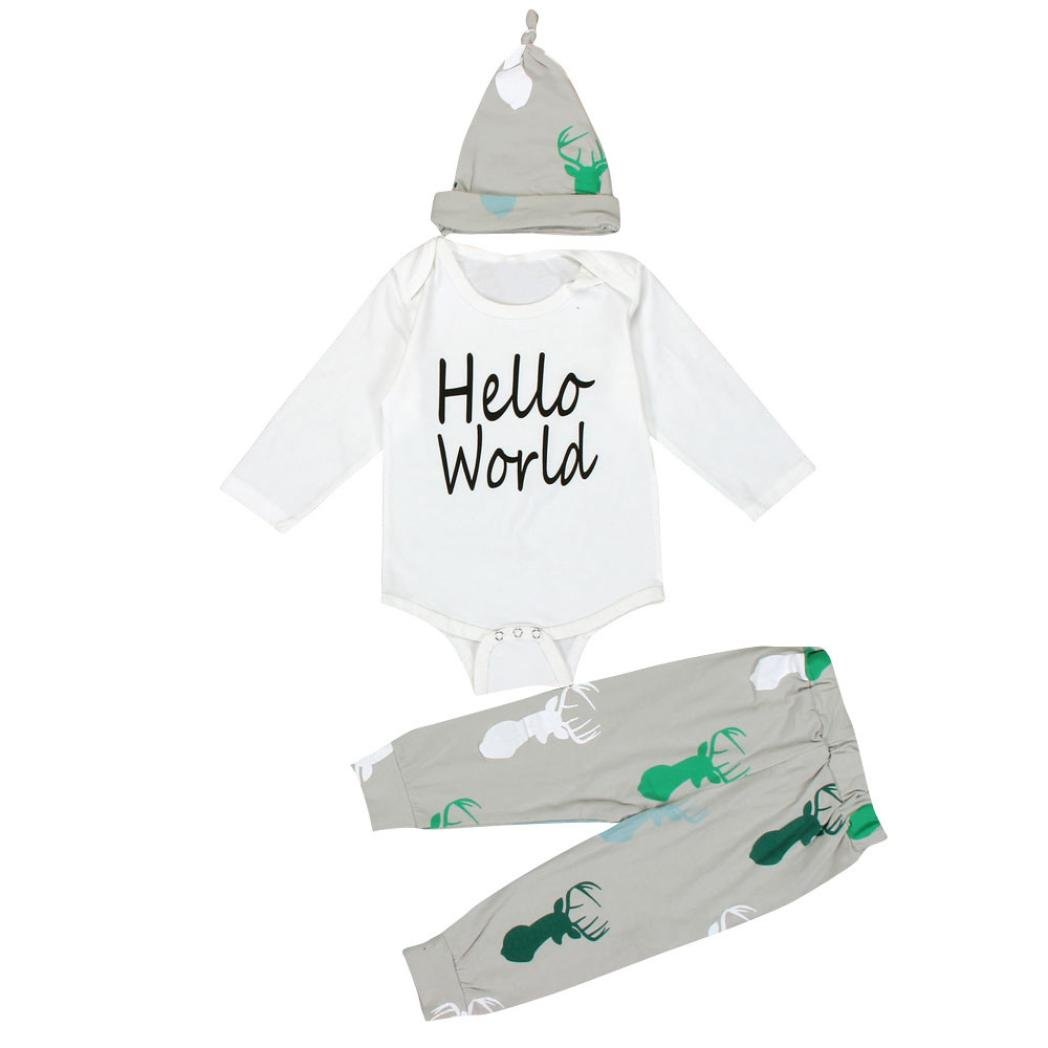 Ropa De La Muchacha Niños, RETUROM Venta Caliente 1Ponga ReciÉN Nacido Muchachas De Los BebÉS De Los Ciervos Camisetas Pantalones Romper Sombrero 3PCS Conjuntos De Ropa