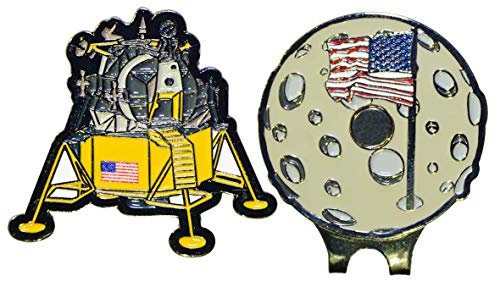 Be The Ball 4U Lunar Module Golf Ball Marker in Shape and Matching Moon Shaped hat Clip