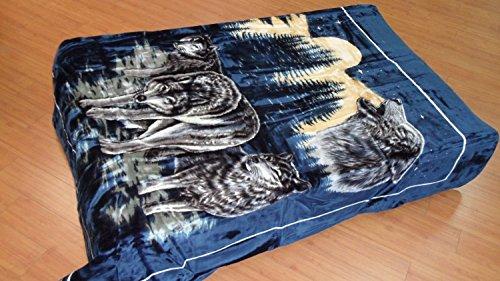 (Korean Solaron Super Thick Heavy Weight Ultra Silky Soft Mink Heavy Duty Reversible Blanket bed comforters bedspreads bedding comforter King or Queen (Queen, 119 Wolf Blue))