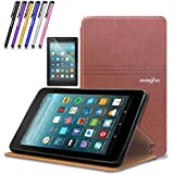 Mignova case for All-New Fire 7 Tablet (2017 7th Gen) - Ultra Slim Lightweight With Kick Stand Cover For All-New Fire 7 Tablet (7th Gen 2017 release) + Screen Protector Film and Stylus Pen (Brown)