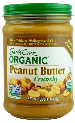 Santa Cruz Organic Peanut Butter Dark Roasted Crunchy -- 16 oz - 2 pc