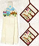 3 Piece Kitchen Set - RV Camping Decor - 1 Hanging Hand Towel - 2 Pocket Potholders - Ivory Plush Towel