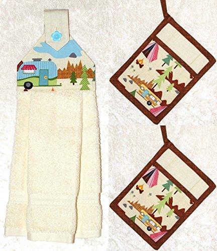 3 Piece Kitchen Set - RV Camping Decor - 1 Hanging Hand Towel - 2 Pocket Potholders - Ivory Plush Towel by Green Acorn Kitchen