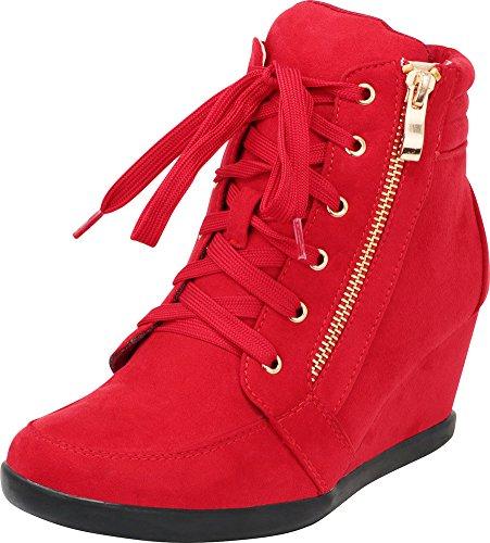 (Cambridge Select Women's Zipper Lace Up Wedge Heel Fashion Sneaker (10 B(M) US, Red))