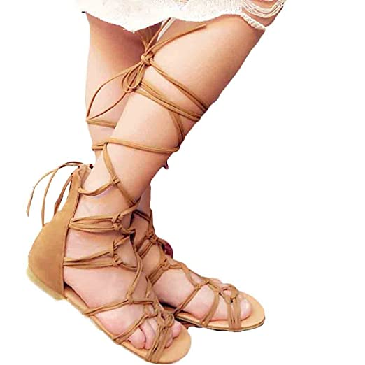 4da1688c0633 Women s Summer Sandals Criss Cross Knotted Strap Flats Sandals Peep Toe Lace  Up Wrap Gladiator Sandal