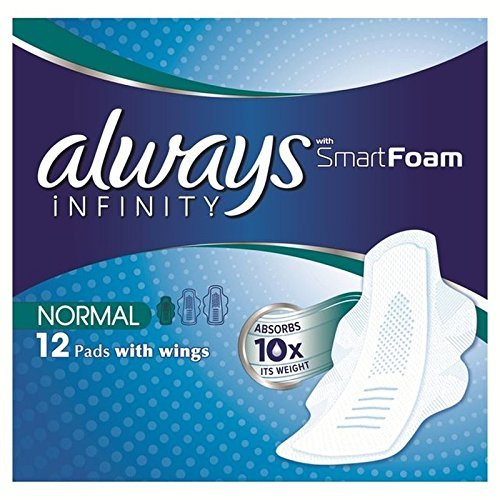 Always Infinity Normal Plus Sanitary Towels with Wings 12 per pack (PACK OF 4)