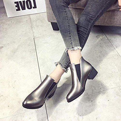 el PU Dedo Botas silver Zapatos Botas Plata Para AIURBAG Hasta Mujer el Botines hasta Negro Puntiagudo Invierno Tobillo Casual Tobillo nz8YREwq