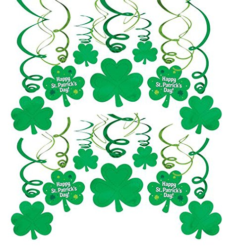 amscan St. Patricks Day Green Foil Swirls, Mega Value Pack, 30 Ct. | Party Decoration