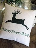Sale Holiday Pillow rustic Christmas Pillow Deer Pillow merry everything Xmas gift