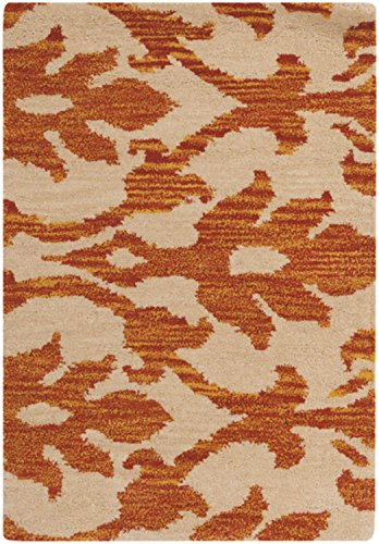 Diva At Home 2' x 3' Mohana Beige and Amber Wool Area Throw Rug
