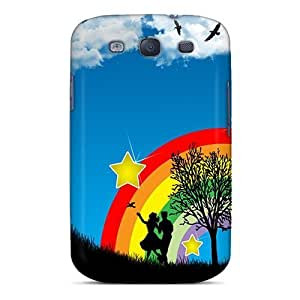 For Case Samsung Galaxy S4 I9500 Cover Slim [ultra Fit] Rainbow Abstract Protective