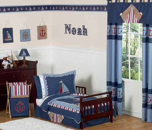 Nautical Nights Sailboat Bed Skirt for Toddler Bedding Sets by Sweet Jojo Designs