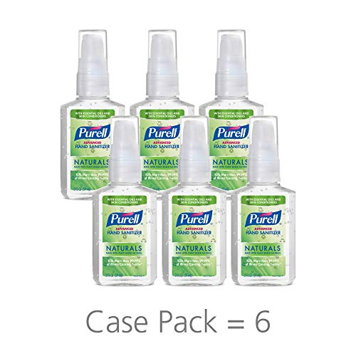 PURELL Advanced Hand Sanitizer Naturals with Plant Based Alcohol, Citrus scent, 2 fl oz pump bottle (Pack of 6)- 9623-04-EC