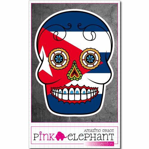 Sticker Flag - Cuba - skull - 9 x 12 cm