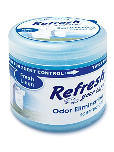 Refresh Your Car! 9921 Scented Gel Air Freshener 4.5 oz, Fresh Linen Scent (Clean Linen Car Freshener)