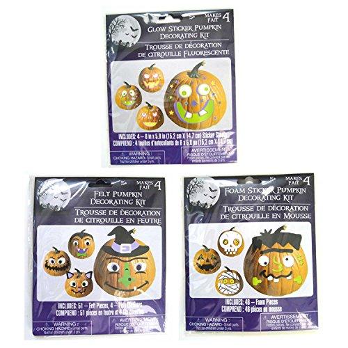 Pumpkin Decorating Craft Kits - Foam Felt & Glow Stickers (Pack of 3) - Decorates a Total of 12 -