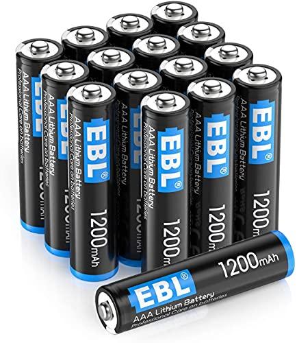 EBL 16 pcs 1.5V AAA Batterie Monouso, 1200 mAh Mini Stilo AAA con Durata Lunga, Adatto per Gamepad, Serratura Elettronica ect