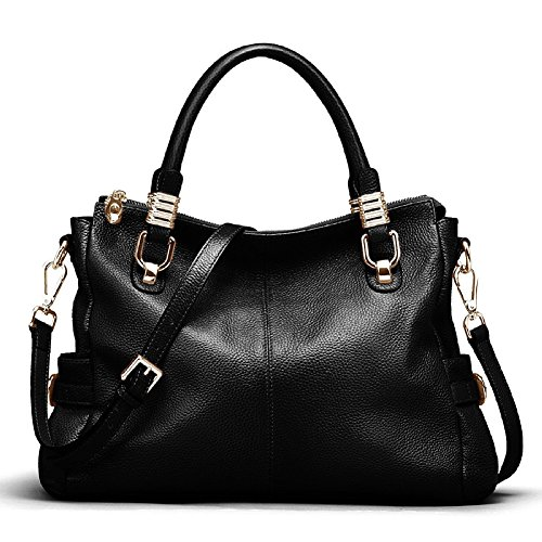 Hardware Tote Handbag - Kattee Womens Genuine Leather Handbag Urban Style Shoulder Tote Satchel Bag Black