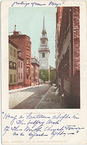 Historic Pictoric Postcard Print | Christ Church (Old North), Boston, Mass, 1900 | Vintage Fine Art