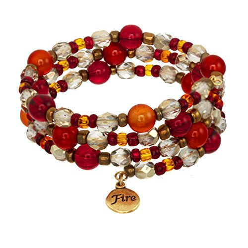 (Elements Triple Coil Gemstone & Crystal Beaded Bracelets (Fire Element))