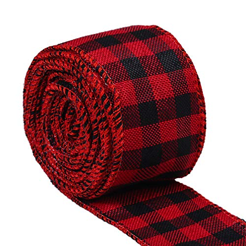 URATOT Red and Black Plaid Burlap Ribbon Christmas Wired...