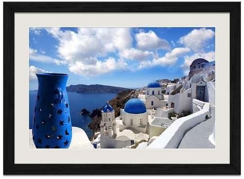 Blue Santorini Greece - Art Print Wall Black Wood Grain Framed ()