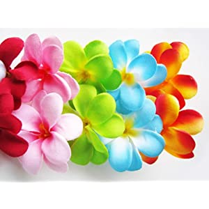 "(100) Assorted Hawaiian Plumeria Frangipani Silk Flower Heads - 3"" - Artificial Flowers Head Fabric Floral Supplies Wholesale Lot for Wedding Flowers Accessories Make Bridal Hair Clips Headbands Dress 12"