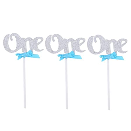 12 pcs number 1 one cupcake topper for first 1st birthday pink and gold blue and silver theme toddler girl boy