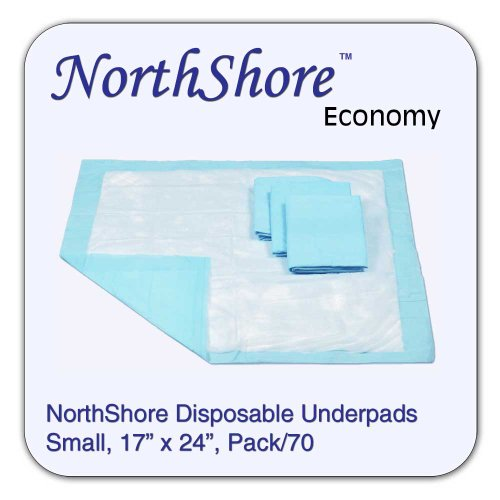 Usa Antique Bed - NorthShore Economy, 17 x 24, 6 oz., Blue Disposable Underpads (Chux), Small, Pack/70